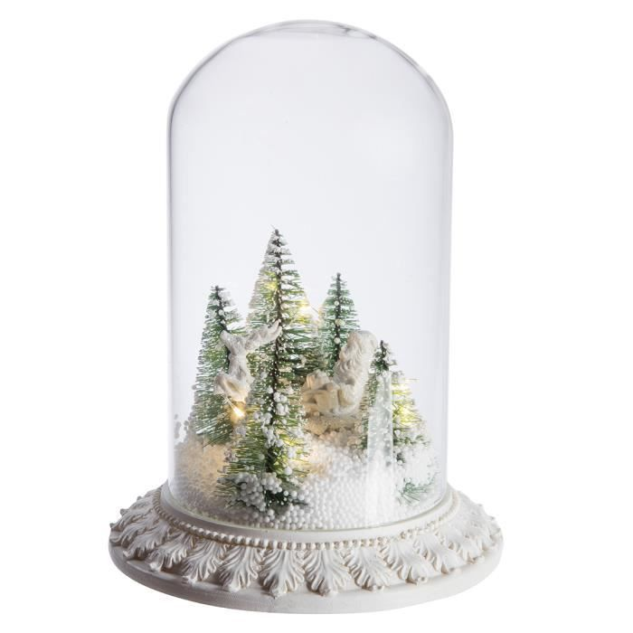 globe en verre sc ne de no l lumineuse led avec neige artificielle 23cm transparent achat. Black Bedroom Furniture Sets. Home Design Ideas
