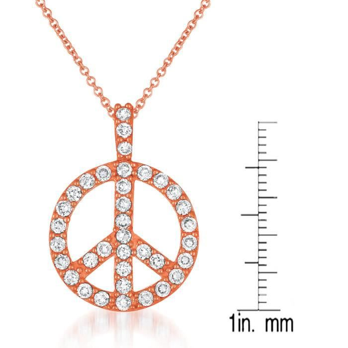 Womens Classic Peace Sign Pave Cubic Zirconia Drop Pendant Necklace By Jewelry On Highly Polished Y1EA8