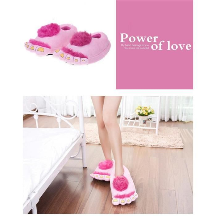 Pantoufles monstre Bigfoot cartoon slippers Confortable en coton doux pantoufles en coton hiver femmes hommes Peluches Chaussons
