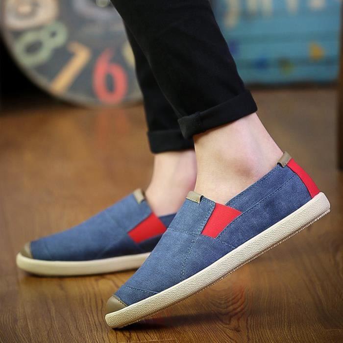 Nouveau Hommes Chaussures pour homme Flats toile Souliers Hommes Chaussures d'été confortable Mocassins Flats Slip Shoes,bleu,43