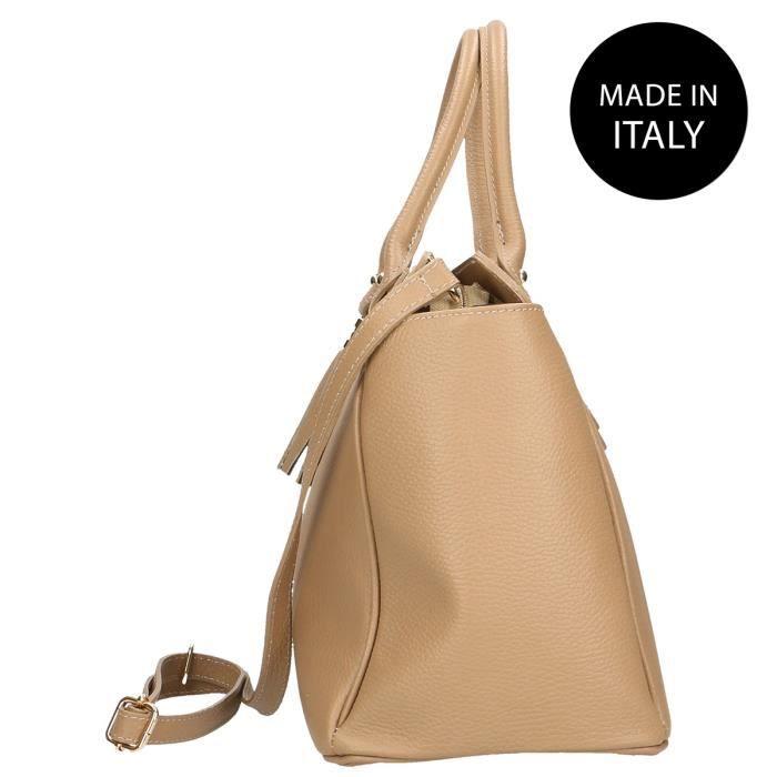 CHICCA BORSE Sac à Main élégant pour Femme avec bandoulière intérieur, véritable cuir made in Italy bronzer 40x27x18 Cm