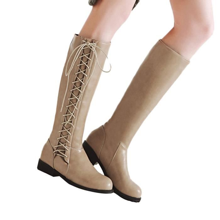 Antidérapante Long Femmes Bout Beige Loisirs Rond Boot Agenouiller Martin Tube Lacets À Chaussures qrXYwYd8