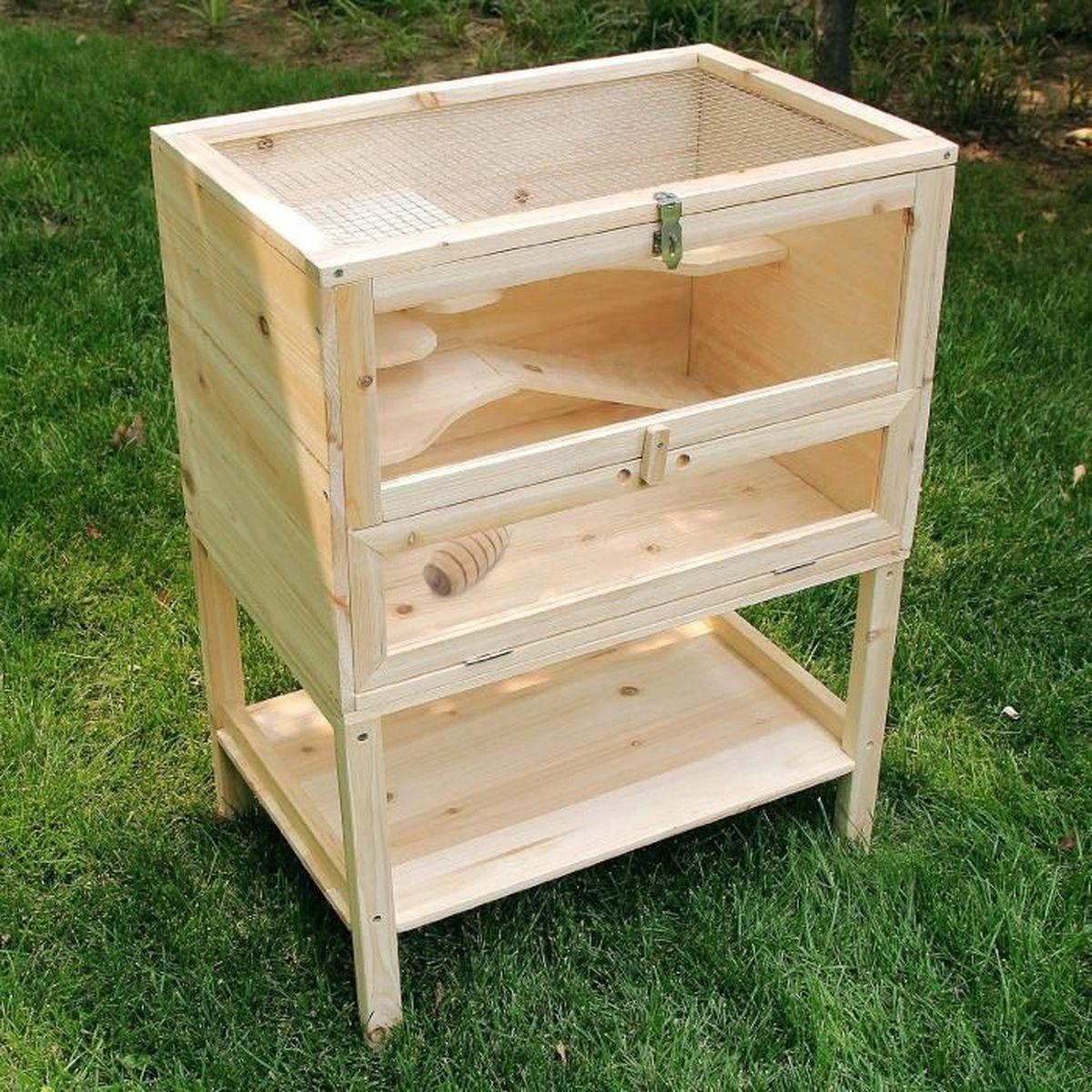 xl cage pour hamsters souris et gerbilles cabane bois lapins habitats achat vente cage xl. Black Bedroom Furniture Sets. Home Design Ideas