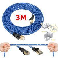 CÂBLE RÉSEAU  Cat7 10 Gigabit RJ45 LAN Ethernet Réseau Câble Tre
