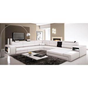 CANAPÉ - SOFA - DIVAN Canapé panoramique blanc et noir angle droit VENIS