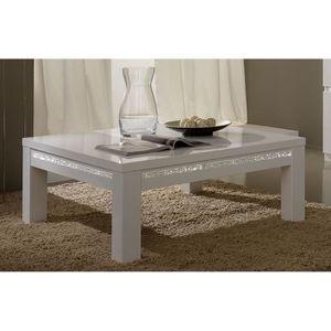 Table basse blanc laqué avec strass design CONCETTA Carrée - Achat ...