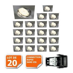 SPOTS - LIGNE DE SPOTS KIN LOT DE 20 SPOT ENCASTRABLE ORIENTABLE LED CARR