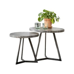 TABLE BASSE Ensemble de 2 Tables d'appoints rond structure en
