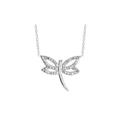 Collier argent rhodié libellule 37+4cm