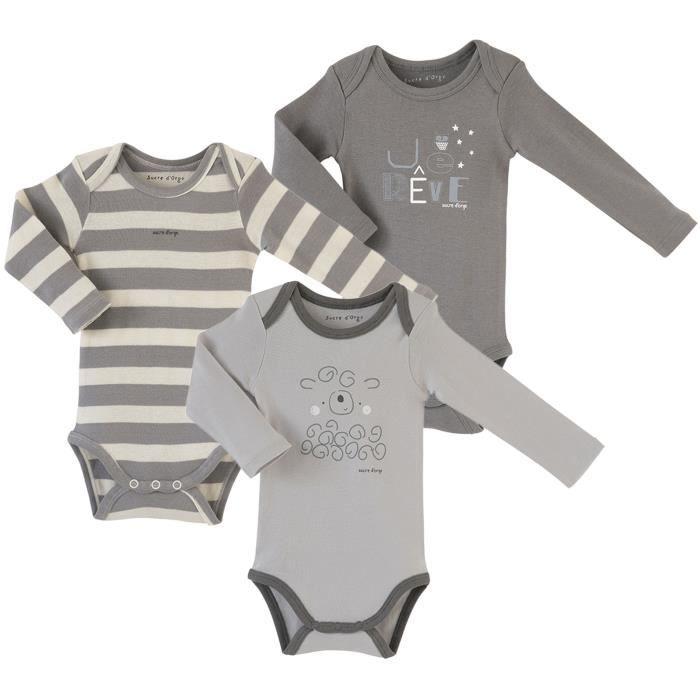 Lot de 3 bodies bébé Mixte SUCRE D'ORGE - manches longues Gris