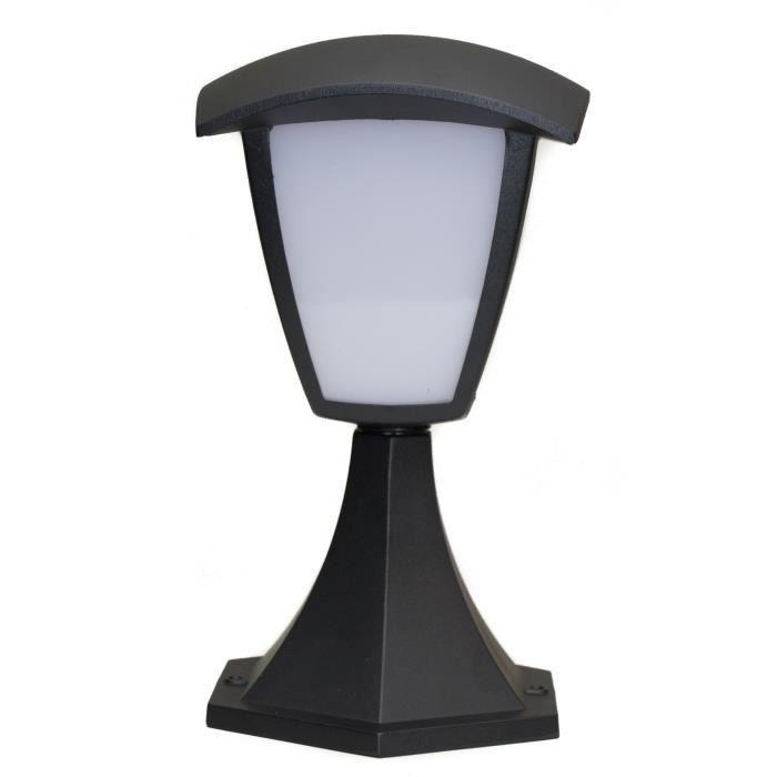 LED - H 29 cm - 8 W - 590 Lumens - Blanc chaud - 3000K - Classe - II IP 54 - Acier inoxydable époxy - 4 facesBALISE SOLAIRE - BORNE SOLAIRE