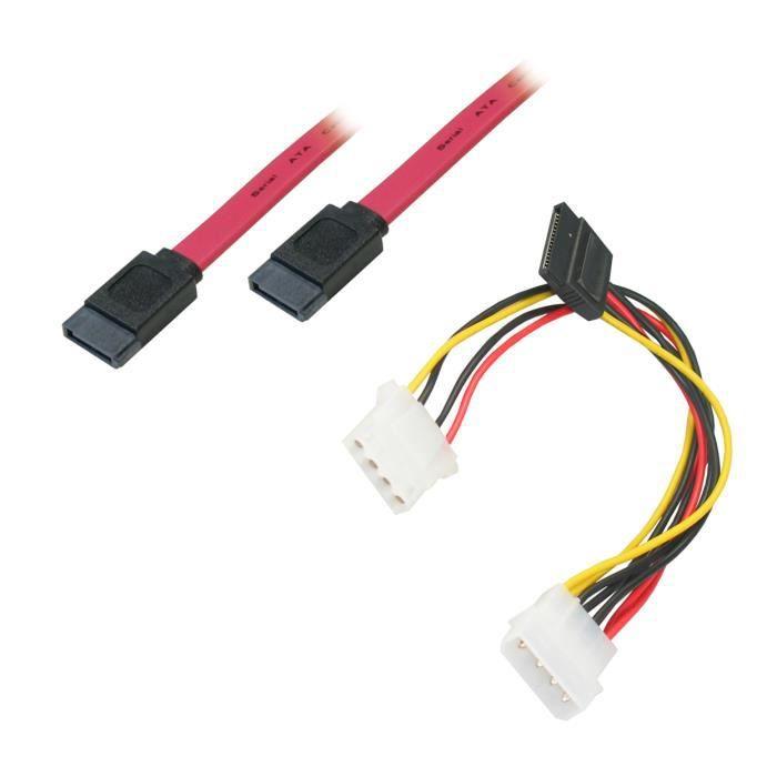 APM Cordon Serial SATA Pour Disques Durs + Câble Alimentation En Y - 0.6m