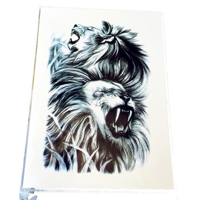 21 15 Cm Duble Tete De Lion Temporaire Tatouage Impermeable Hommes