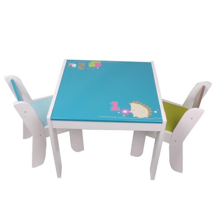 Labebe Table Et 2 Chaises Enfant Motif De Hrisson Hibou Chambre Meuble Mobilier Bb