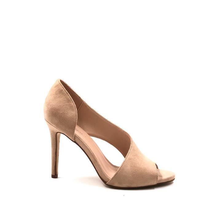 CHIC NANA . Chaussure Femme Mode Escarpins en effet daim ouvert sur le côté extérieur du pieds en couleur Rouge 41.