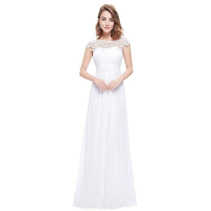 32482e044dbec Robes de Cérémonie Femme Longue Dentelle Robe de Soirée Cocktail Bal  Elegant Sans Manches Blanc