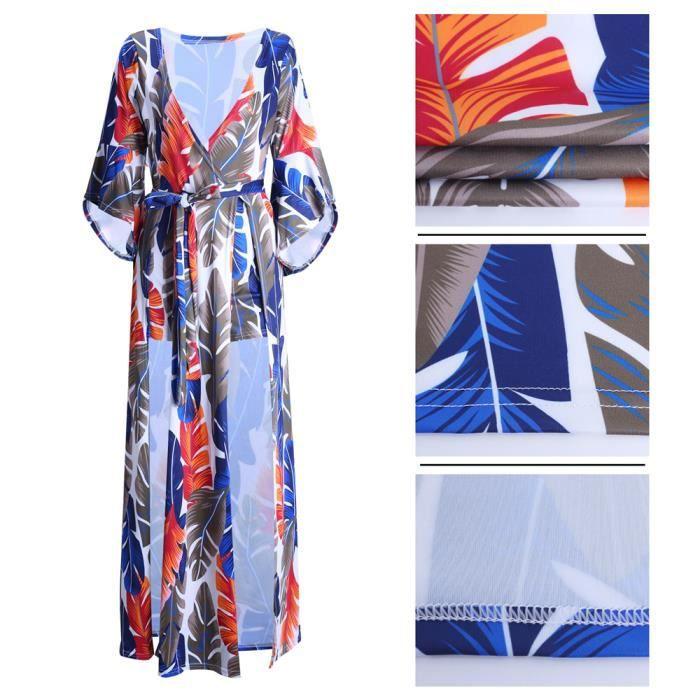 Femmes Robe Sexy Collier V Slim 3D Impression Vetements Manches Lotus Creux latéral robes élégante Grande Taille s-xxxl