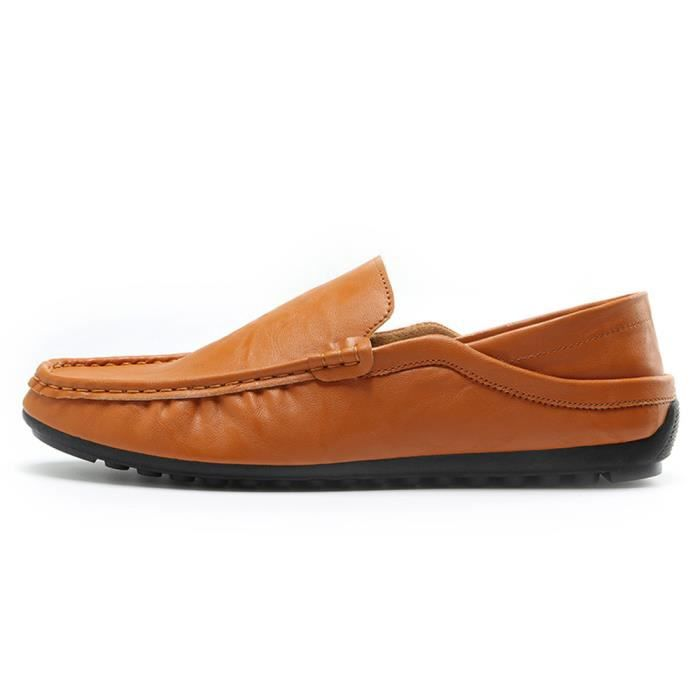 en souple respirant ASD667 cuir les Slip Conduite marron Casual Flat chaussures Trim Hommes sur pwAx5Otdqp
