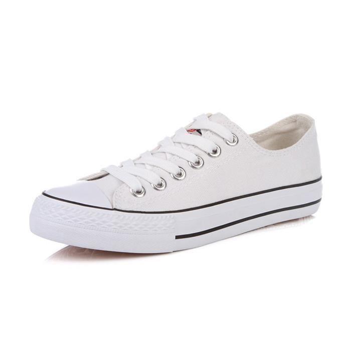 Classique bout rond Casual Lace Up Top bas de planche à roulettes plate-forme plate en toile Chaussures Sneakers R0GLC Taille-38