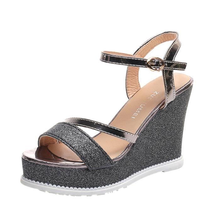 CHAUSSON - PANTOUFLE Femmes Solide Chaussures Plates Bandages Bohême Lo
