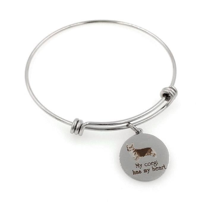 Les femmes de mon Corgi a mon coeur Gravé Bracelet extensible L829Z