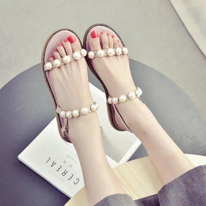 sandales femmes plat de mode perles d'été perle Peep Toe Rétro Rome Plage ioQLLgKn