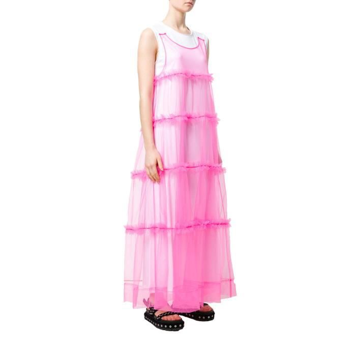 P.A.R.O.S.H. FEMME D721447NYLFLUO102 ROSE COTON ROBE