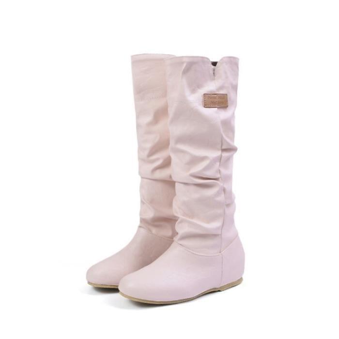 Grande Taille 34-43 Bottes Femmes Mode Boucle de ceinture Automne Chaussures Hiver Femme Semelle en caoutchouc Plateforme Bottes FI5Shlv