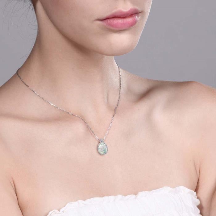 Pendentif En Or Blanc 10k - Opale blanc cabochon et diamant avec chaine - 0.80 ct