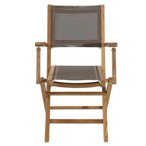 fauteuil jardin lot 2 fauteuils pliants en teck et textilne co - Chaise De Jardin Couleur