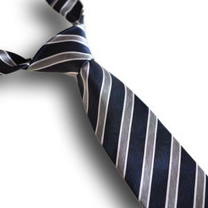 CRAVATE - NŒUD PAPILLON Cravate rayée bleue et grise, 100% soie (boîte pre