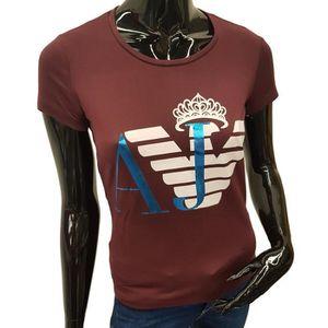 T-SHIRT T-Shirt Armani Jeans manches courtes bordeaux pour