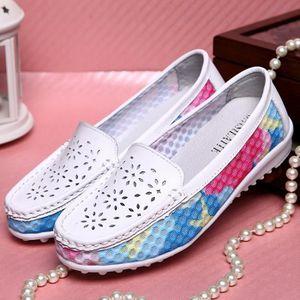 Chaussures en cuir Slip-on femme Flats Confort Chaussures Femme Printemps Eté Mocassins Chaussures plates,jaune,4.5,2805_2805