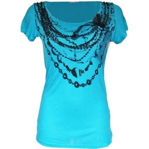 be4c8d2734e8e T shirt femme turquoise - Achat / Vente pas cher