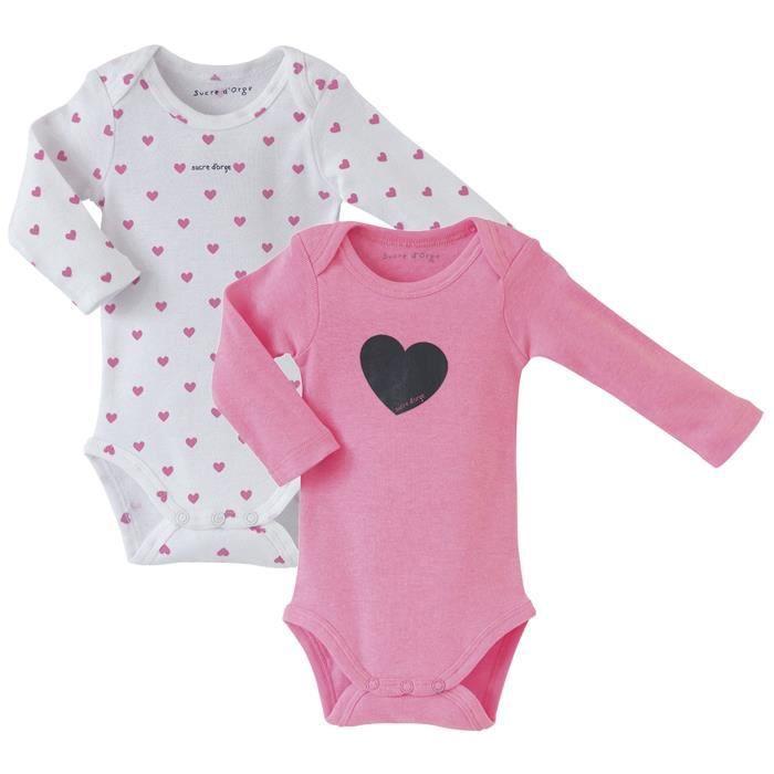 Lot de 2 bodies bébé Fille SUCRE D'ORGE - manches longues Rose fluo et Blanc