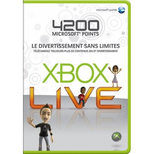 CARTE MULTIMEDIA CARTE XBOX 360 LIVE 4200 POINTS / CONSOLE XBOX360