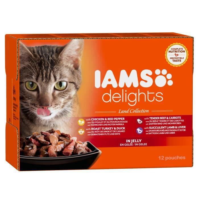 IAMS Delights multibox Saveurs de la Terre en gelée (Land Collection) - Toutes Races - 12x85 g - Pour chat adulte