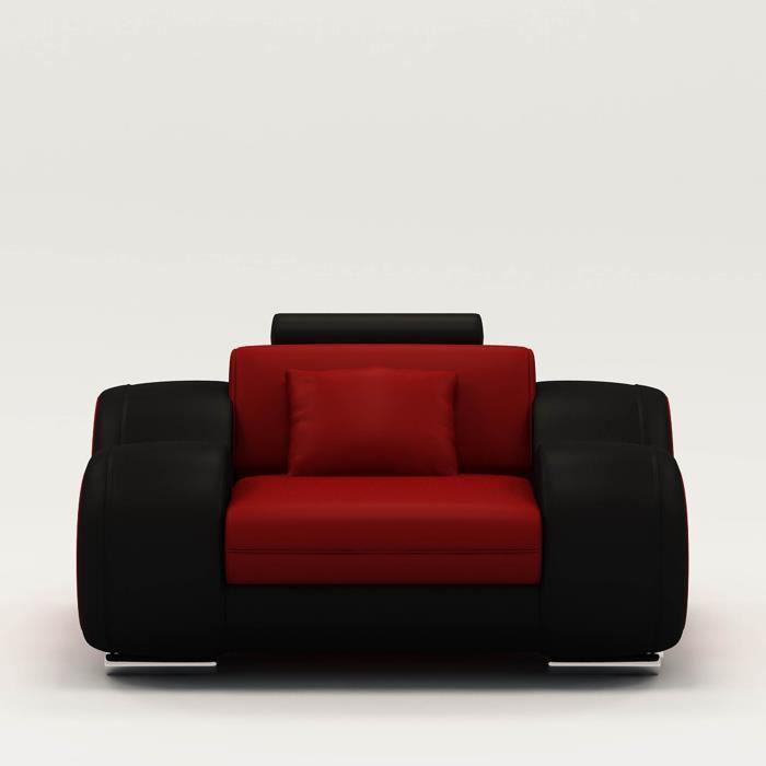 Fauteuil cuir relax design rouge et noir OSLO Achat Vente