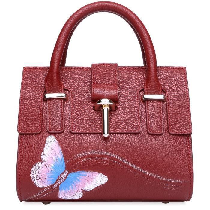 Sac à main en cuir véritable papillon poignée supérieure Sac bandoulière 8003 PX3UW