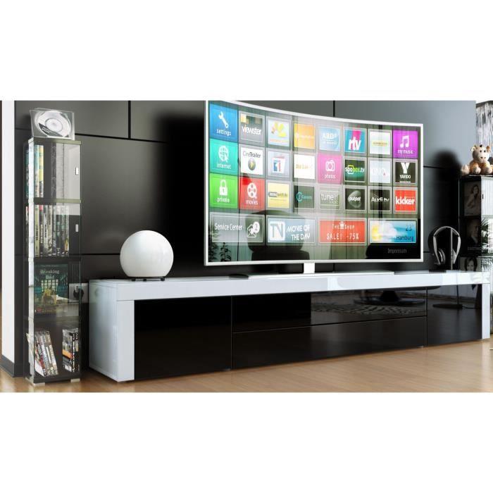 MEUBLE TV meuble tv bas laqué blanc / noir