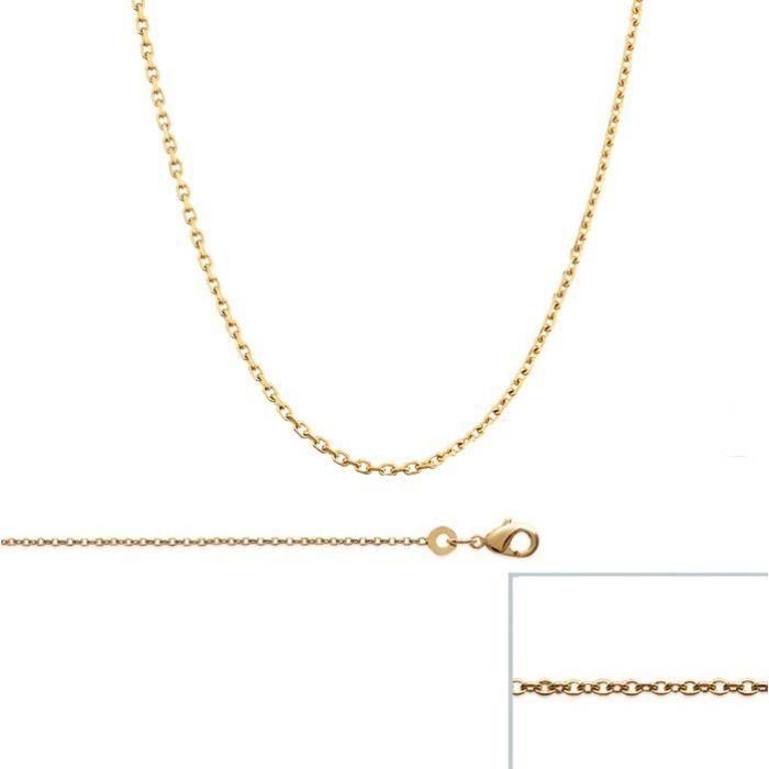 Chaine Plaqué Or maille Forcat largeur 1mm (42 cm)
