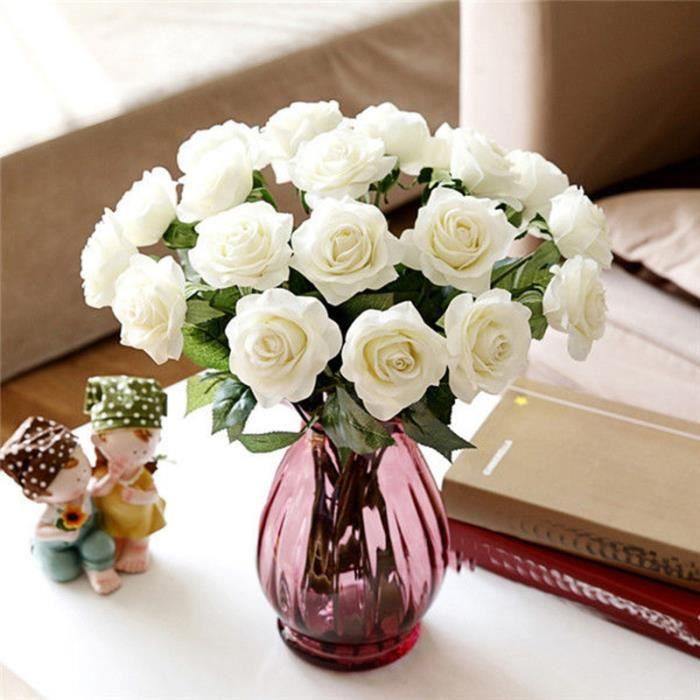 Gleader Bouquet 10pcs Fleur Artificiel Rose En Mousse Blanc Du Lait