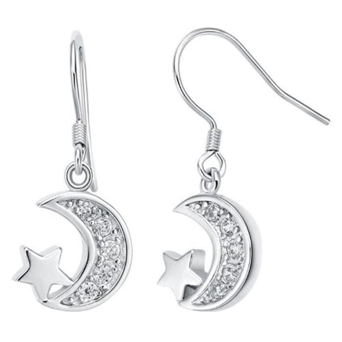 Éclatant Étoile-Lune DAmour Plaqué Argent Zircone Cubique Pendants-Boucles DOreilles Pour Femme