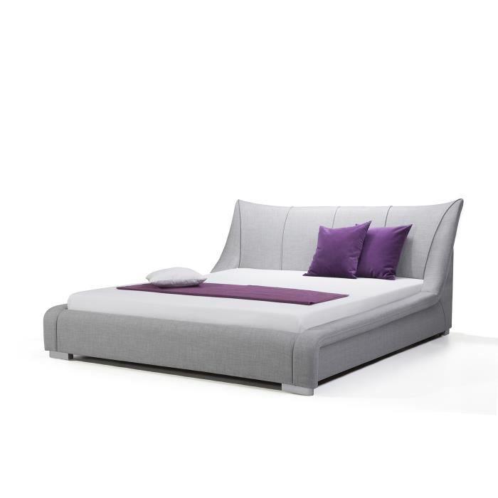 1d09295dd2d93e Lit design en tissu - lit double 160x200 cm - gris - sommier inclus - Nantes