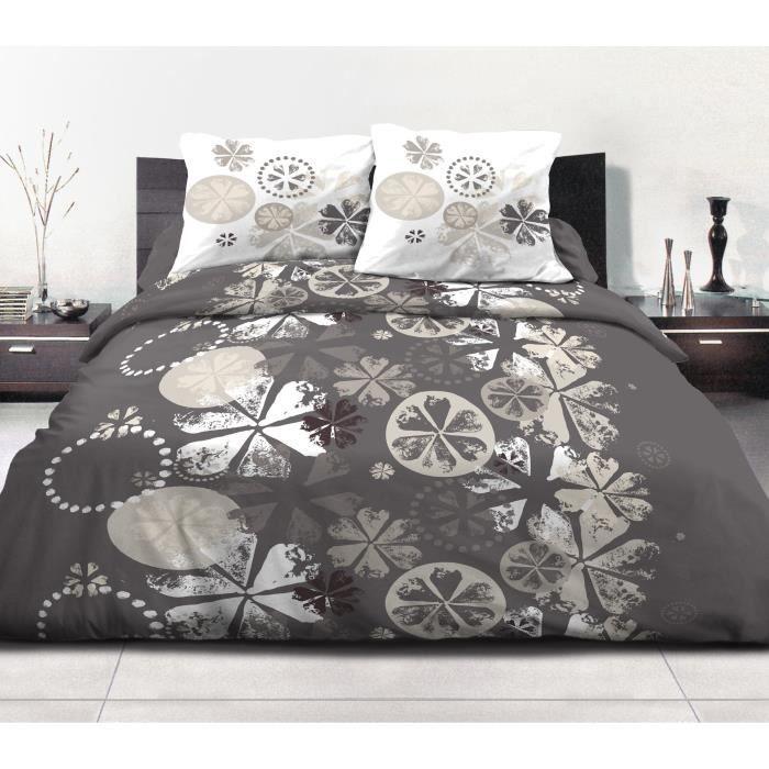 housse de couette 220x240 gris et jaune achat vente. Black Bedroom Furniture Sets. Home Design Ideas