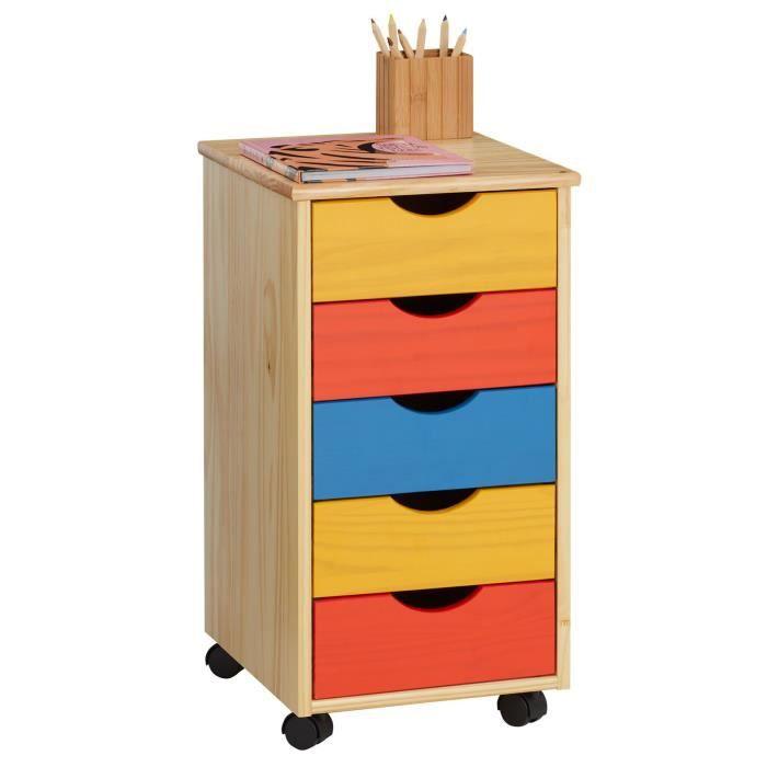 caisson de bureau sur roulettes 5t multicolore achat vente caisson de bureau caisson de. Black Bedroom Furniture Sets. Home Design Ideas