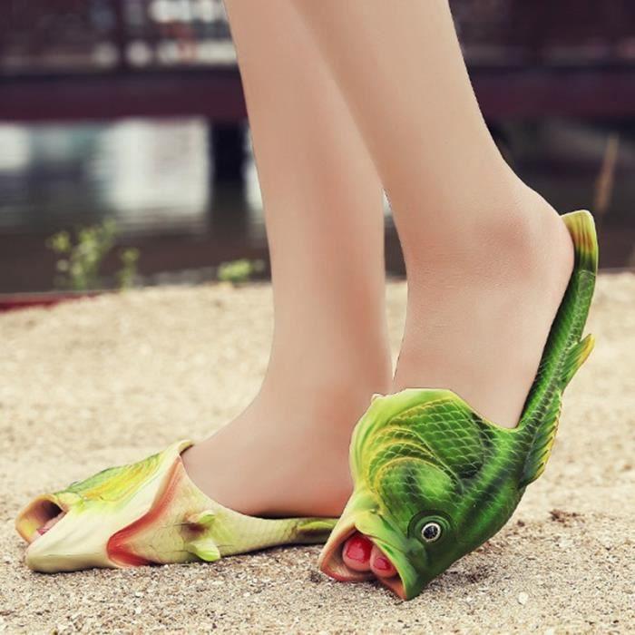 Femmes Mode sexy d'été Shipper Creative Faites glisser mots Chaussons Poisson Outdoor Sandales imperméables,vert,6