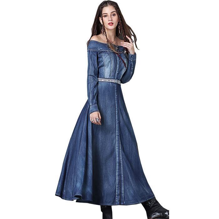 7ee8367a97b6 Haute qualité vintage coton nouvel automne 2017 longue robe jeans robe à  manches longues manches hors épaule bleu