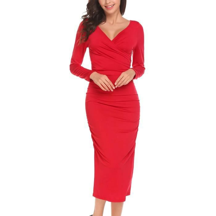 robe femmes occasionnels Col V profond paquet hanche Side Ruffle Sexymoulante