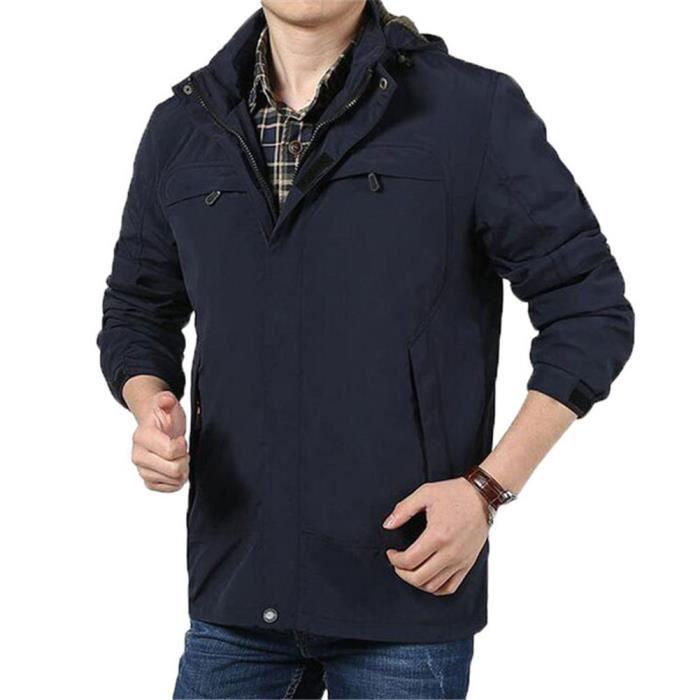 0810b31c458d1 Blouson Homme Veste Commercial Large Col montant Polyester Bleu ...
